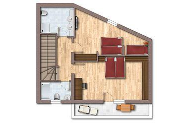 Floor plan of the MountainChalet Deluxe upper floor