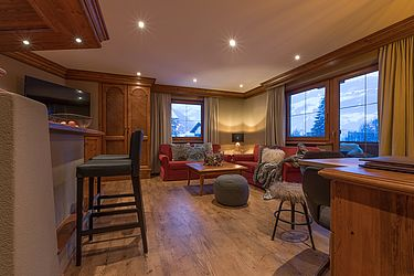 A living room designed in a chalet style
